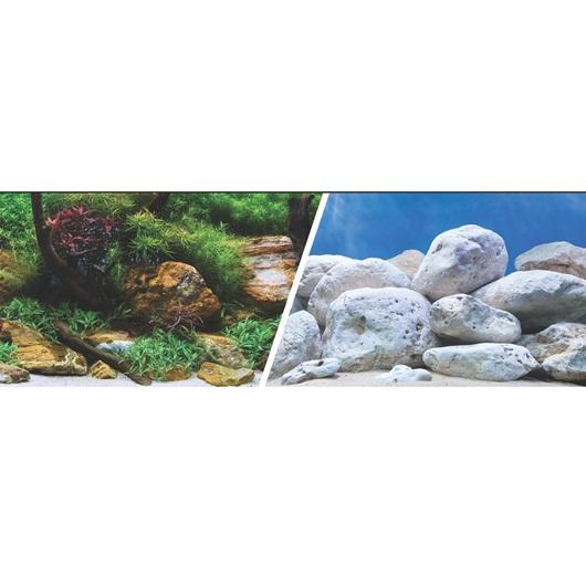 Marina Double Sided Aquarium Background, Aquatic Garden/Bright Stone, 45cm high per 30cm Long