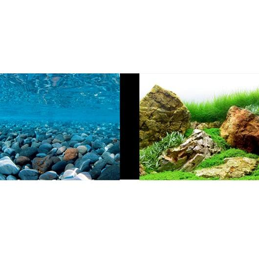Marina Double Sided Aquarium Background, Stoney River/Japanese Garden Scenes, 60cm high per 30cm Long