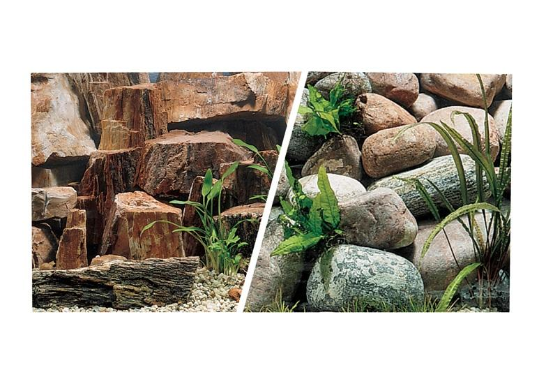 Marina Double Sided Aquarium Background, Rocky Canyon/Riverbed, 45cm high per 30cm Long