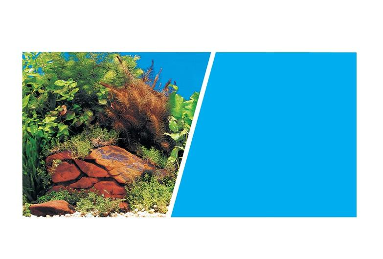 Marina Double Sided Aquarium Background, Plants with Rocks Scene /Solid Light Blue-Backgrounds-Lincs Aquatics Ltd