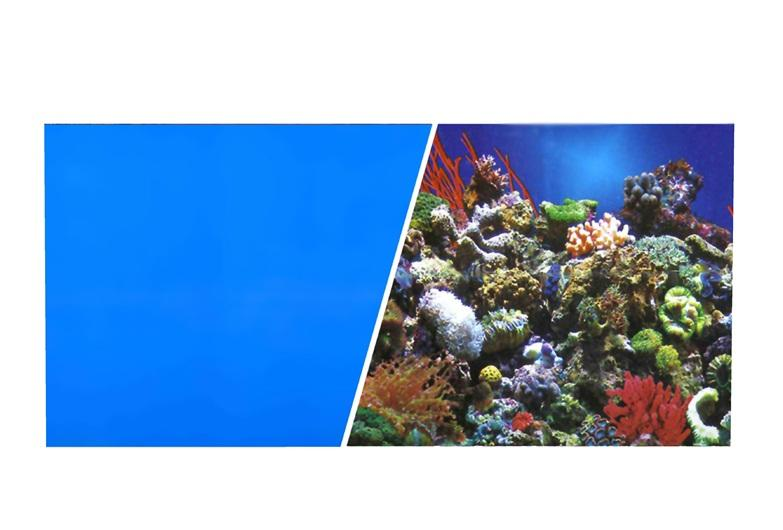 Marina Double Sided Aquarium Background, Reef Aquarium/Solid Royal Blue, 45cm high per 30cm Long