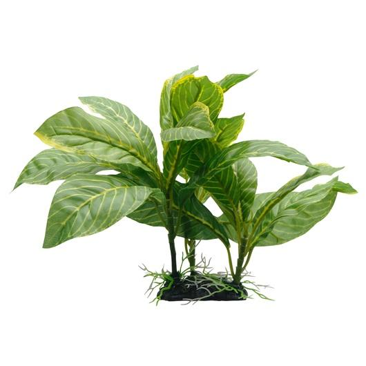 "Fluval Decorative Yellow Stripe Spathiphyllum Plant 22cm (9"") with Base-Fake Plants-Lincs Aquatics Ltd"