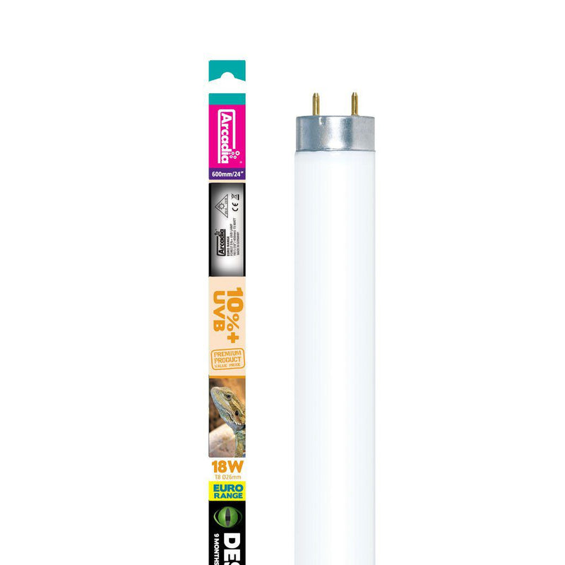 "Arcadia Light Tube T8 Desert 10% UVB Lamp 18w 24""-Arcadia UV Bulbs-Lincs Aquatics Ltd"