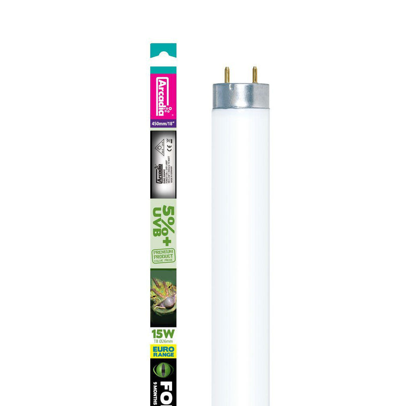 "Arcadia Light Tube T8 Forest 5% UVB Lamp 15w 18""-Arcadia UV Bulbs-Lincs Aquatics Ltd"