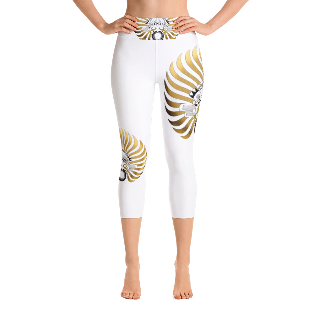SUNBIRD WHITE : Yoga Capri Leggings