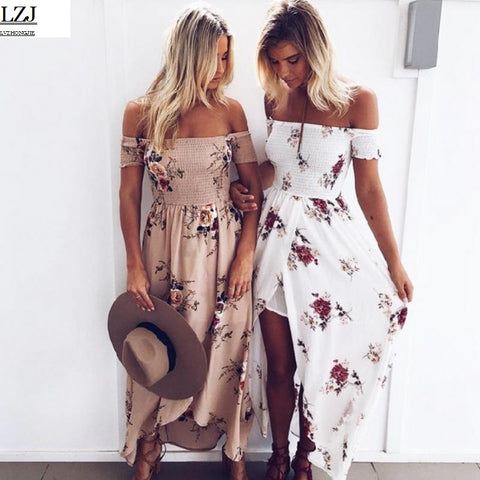 Boho style long dress Off shoulder beach summer dress - Sale30