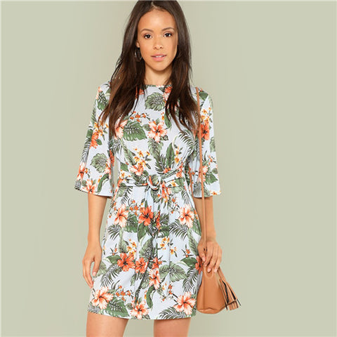 Multicolor Vacation Boho Bohemian Beach Floral Print Round Neck Flutter Half Sleeve Dress - Sale30