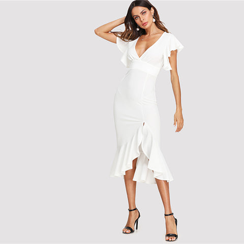 Butterfly Shoulder Asymmetrical Ruffle Hem Split Front Deep V Neck Dress - Sale30
