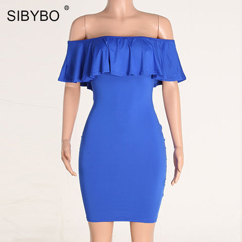 Off Shoulder Dress Summer Short Sleeve Ruffle Ladies Dress - Sale30