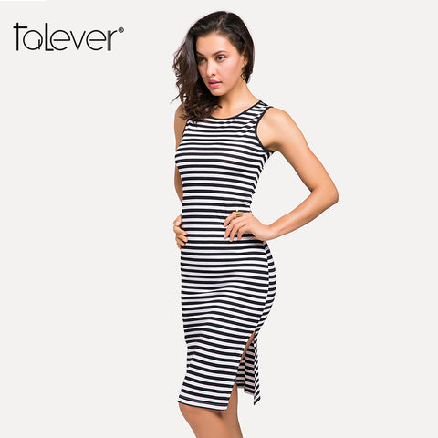 Women Bodycon Striped Midi Knitted Tank Summer Dress - Sale30