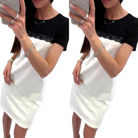 Summer Color Block Splice Lace Women Slim T-Shirt Dress - Sale30