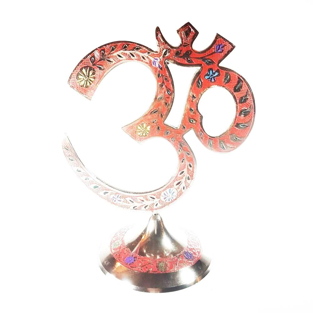 SUPPORT MANTRA / METAL / Syllabe OM / Rouge / TIBET LUNGYO