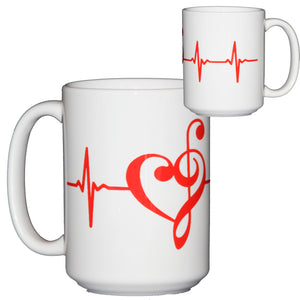 Music Life Line Treble and Bass Clef Mug for Musicians