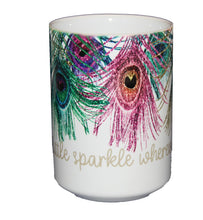 Leave a Little Sparkle Whereever You Go - Gorgeous Peacock Coffee Mug - Larger 15oz Size