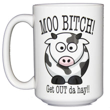 SECOND STRING Moo Bitch - Get Out the Hay - Funny Cow Coffee Mug - Larger 15oz Size