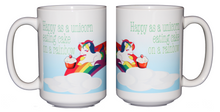 Happy as a Unicorn Eating Cake on a Rainbow Coffee Mug - Larger 15oz Size
