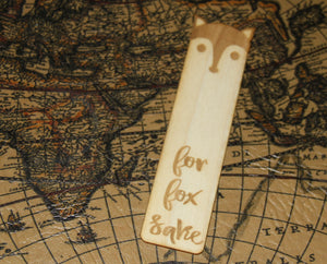 For Fox Sake - Funny Wooden Bookmark - Inappropriate Humor - Woodland Forest Creature Animal