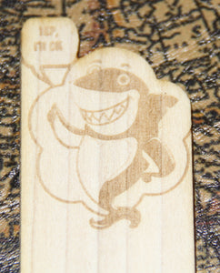 World's Okayest Friend - Funny Shark Themed Wooden Bookmark - Thumbs Up