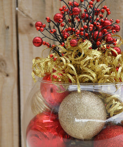 """All That Glitters in Red and Gold"" Berry Topped Christmas Centerpiece"
