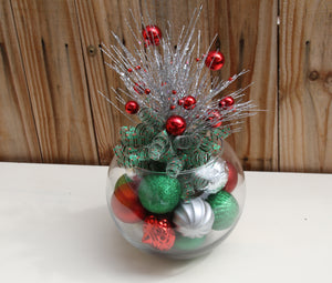 """Christmas Classic in Red Green Silver"" Holiday Centerpiece"
