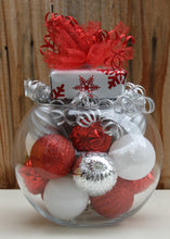 """A Few of My Favorite Things"" Red White and Silver Present Topped Christmas Centerpiece"