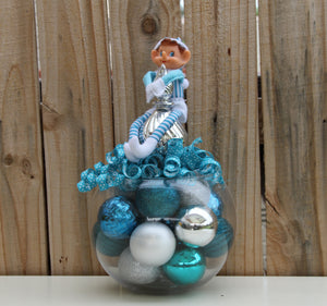 """My Name is Henrick"" Santa's Elf on a Christmas Centerpiece in Turquoise"