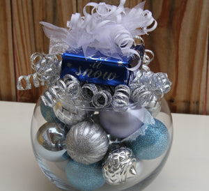 """Let it Snow"" Sapphire and Silver Christmas Snow Centerpiece"