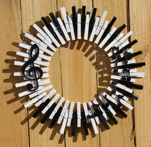 Piano Sheet Music Clothespin Wreath