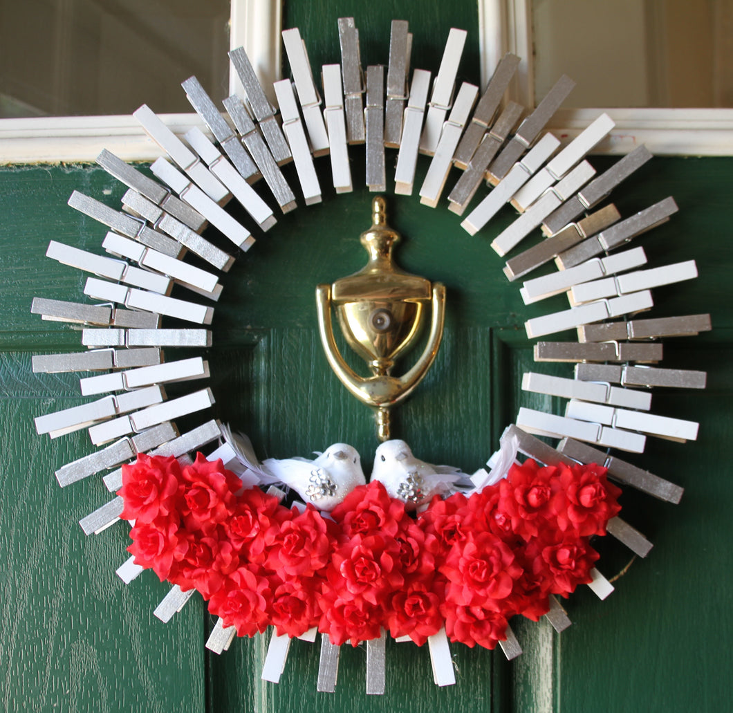 Love Birds and Red Roses - Winter Valentine Clothespin Wreath