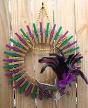Handmade Mardi Gras Clothespin Wreath - Beads and a Masquerade Mask