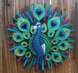 Handmade Peacock Clothespin Wreath