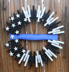 Thin Blue Line Wreath for Police Officers