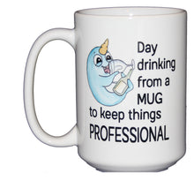 Day Drinking From a Mug to Keep Things Professional - Funny Narwahl Coffee Mug - Coworker Employee Boss Gift - Zoom Meeting