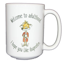 SECOND STRING Welcome To Adulthood - Hope you Like Ibuprofen - Funny Fox Coffee Mug for Graduation 18th 21st 25th Birthday - Larger 15oz Size