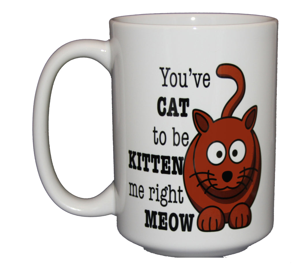You've CAT To Be KITTEN Me -  Funny Cat Lover Coffee Mug - Larger 15oz Size