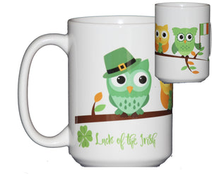 "St Patricks Day Coffee Mug Hostess Gift Adorable Cartoon Owls on a Tree Branch ""Luck of the Irish"""