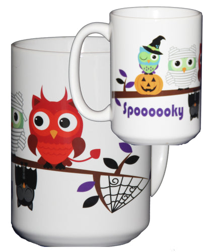 Halloween Coffee Mug Hostess Gift Adorable Cartoon Owls on a Tree Branch
