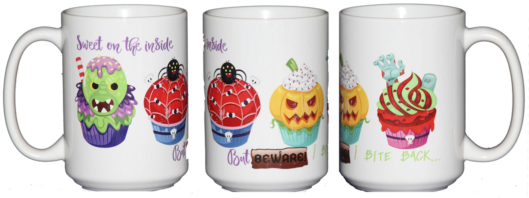 Halloween Cupcakes Coffee Mug - Sweet on the Inside - But BEWARE - I Bite Back - 15oz Large Coffee Mug