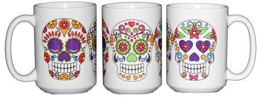 Day of the Dead Sugar Skulls - Dia De Los Muertes - 15oz Large Coffee Mug