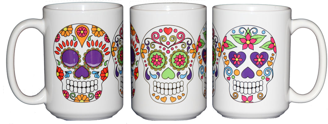 Day of the Dead Sugar Skulls - Dia De Los Muertes - 15oz Large Coffee Mug - Halloween