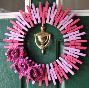 "16"" Crocheted Heart Pink Clothespin Wreath"