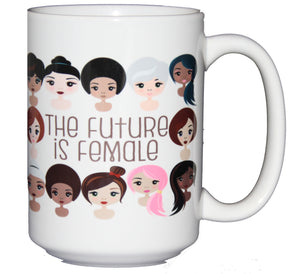 SECOND STRING The Future is Female - Inspirational Girl Power Coffee Mug - Larger 15oz Size