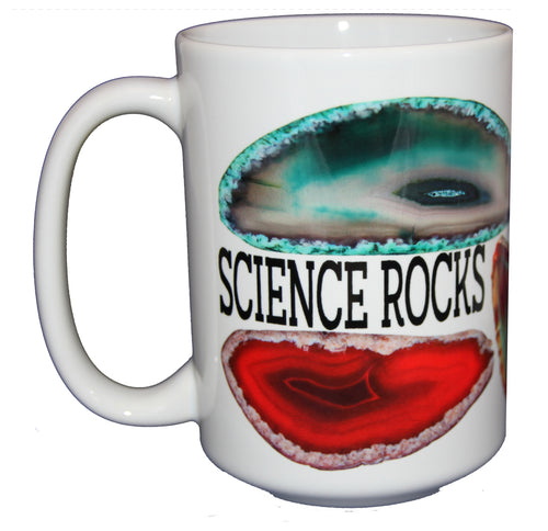 Science Rocks Funny Geode Pun Coffee Mug  - Gift for Teacher Scientist Doctor - Larger 15oz Size