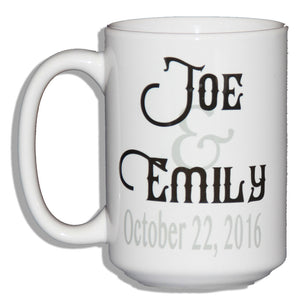 Personalized Names Coffee Mug Wedding Anniversary Gift with Date