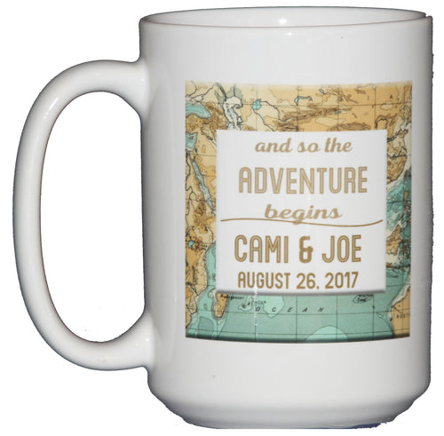 And So the Adventure Begins - Personalized Names Coffee Mug Wedding Anniversary Gift with Date