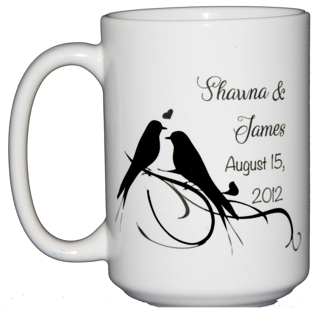 Personalized Love Birds Coffee Mug Wedding Anniversary Gift