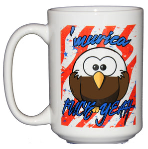 America - Fuck Yeah - Funny Pop Culture Coffee Mug - Bald Eagle - Larger 15oz Size
