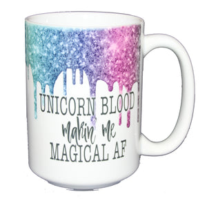SECOND STRING Unicorn Blood Making Me Magical AF - Glitter Drips Coffee Mug for Potter Fan - Larger 15oz Size
