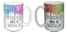 Unicorn Blood Making Me Magical AF - Glitter Drips Coffee Mug for Potter Fan - Larger 15oz Size