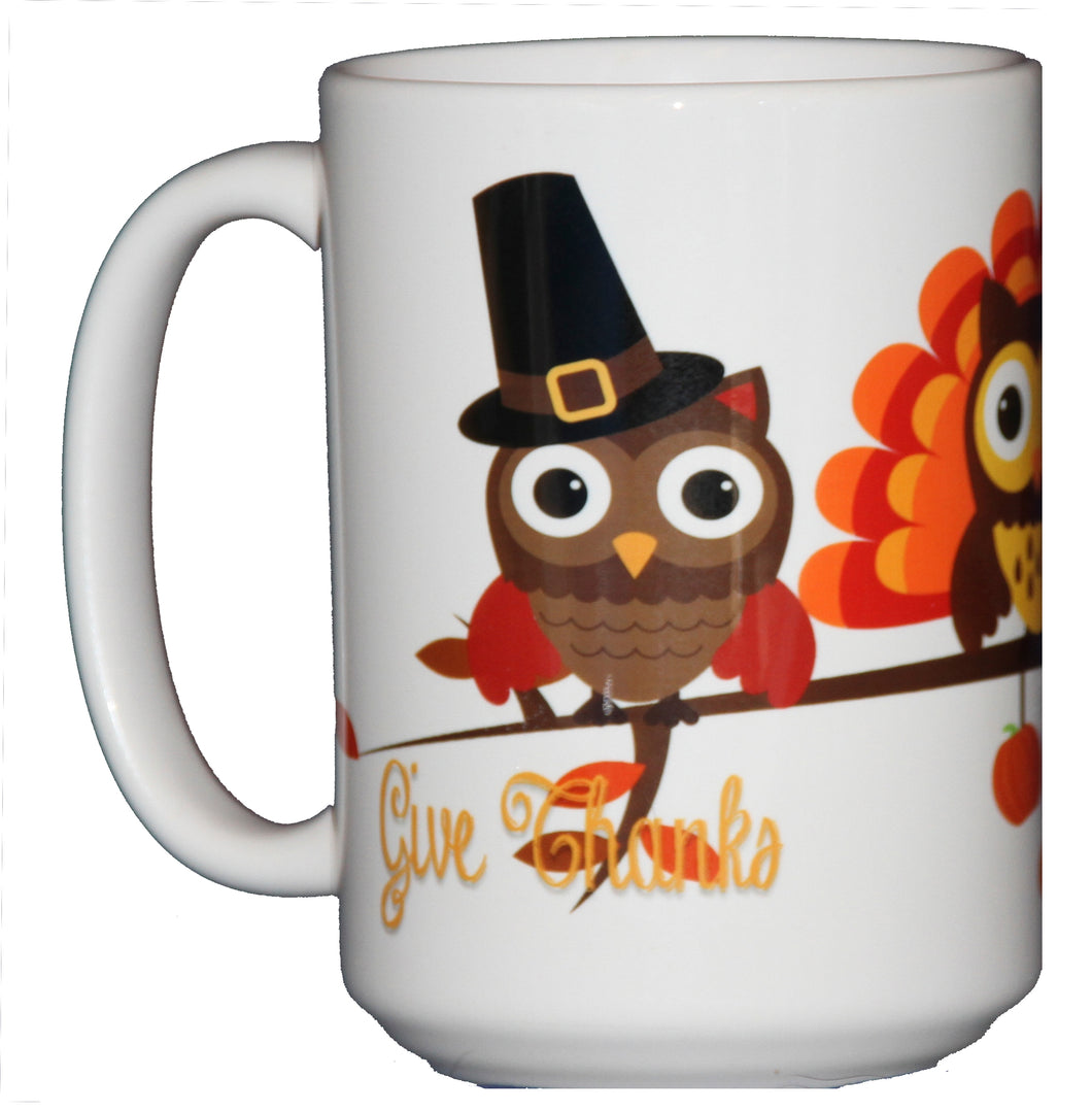 Thanksgiving Coffee Mug Hostess Gift Adorable Cartoon Owls on a Tree Branch